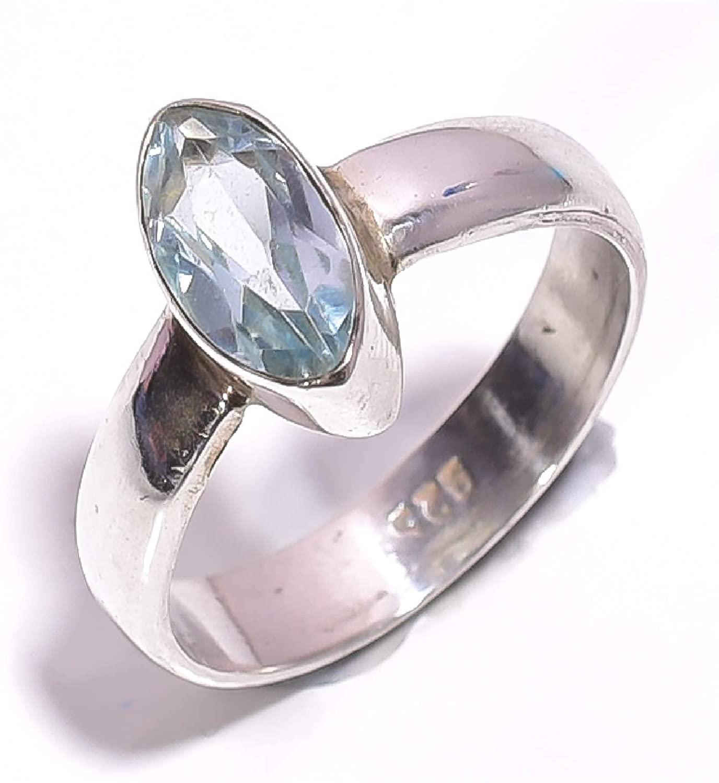 mughal gems & jewellery 925 Sterling Silver Ring Natural Aquamarine Gemstone Fine Jewelry Ring for Women & Girls (Size 5.75 U.S)