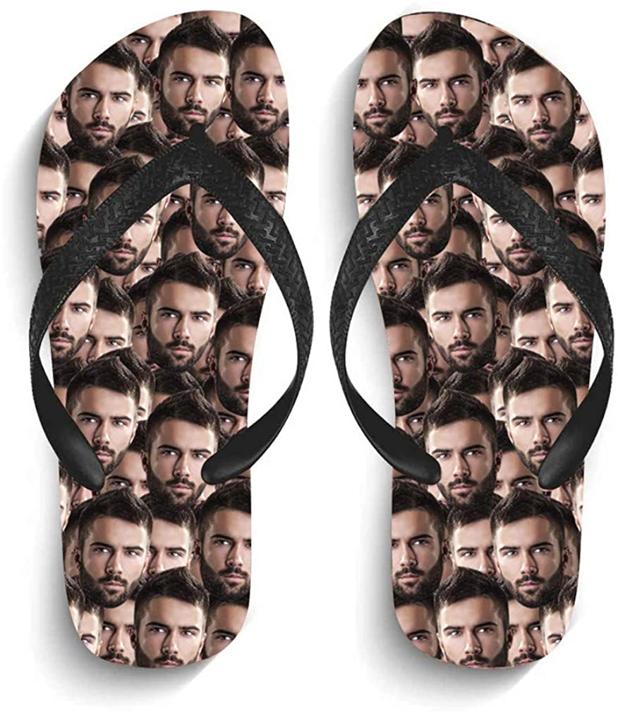 YINSHIFU Custom Flip Flops Multiple Faces Printed Photo Summer Beach Sandals Personalized Gift for Women Men