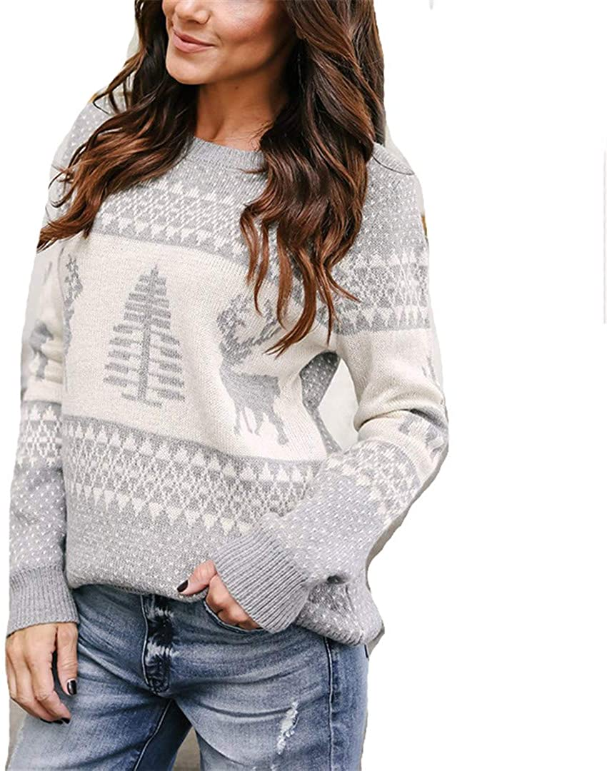 Christmas Sweater Winter Classic Deer Printed Knitted Pullovers Plus Size Streetwear Long Sleeve Causal Jumpers