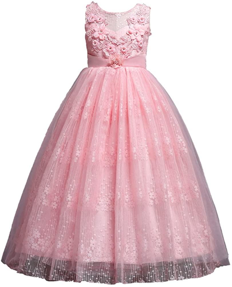 Harelgrow Girls Lace Party Wedding Dresses Flowers Girl Birthday Dress 4-14 Years