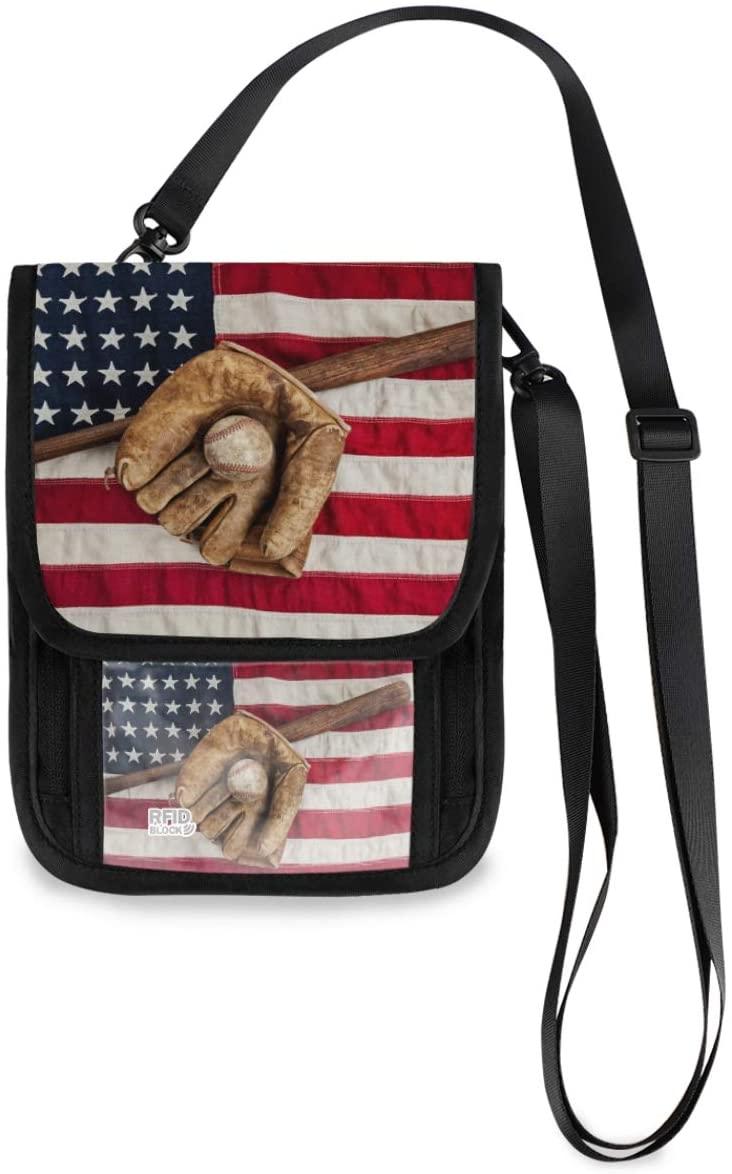 Travel Wallet Baseball Neck Pouch - American Flag Passport Holder with RFID Blocking for Women Men Lightweight Passport Wallet