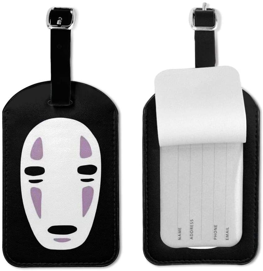 Zwj Spirited Away Faceless Men Luggage Tag Travel Id Label Leather for Baggage Suitcase 1 Piece