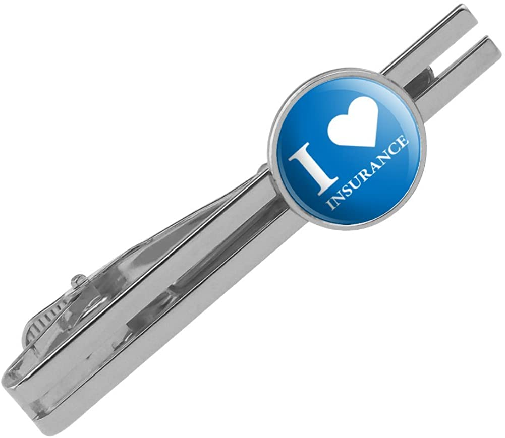 GRAPHICS & MORE I Love Insurance Round Tie Bar Clip Clasp Tack Silver Color Plated