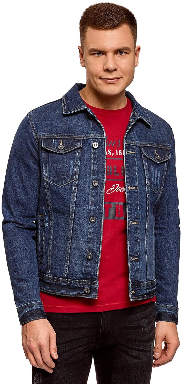 oodji Ultra Men's Denim Jacket with Chest Pockets