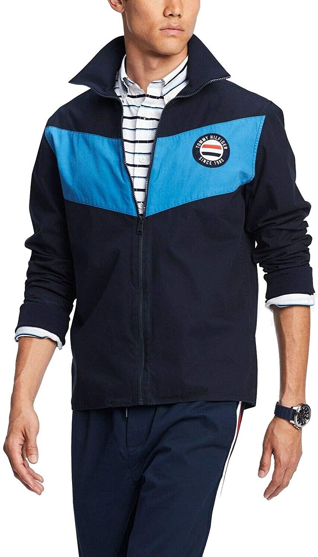 Tommy Hilfiger Mens Mock-Neck Colorblocked Jacket