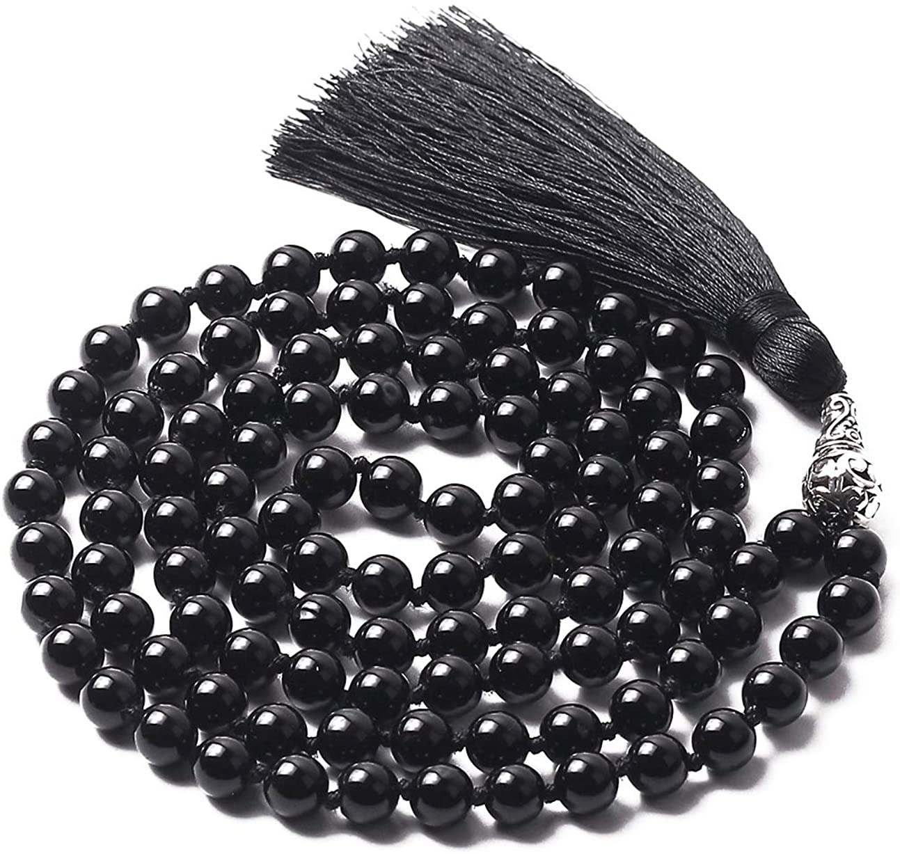 Mala Beads 108 8mm Mala Necklace Japa Mala Hand Knotted Tibetan Mala Prayer Beads Meditation Beads Yoga Necklace