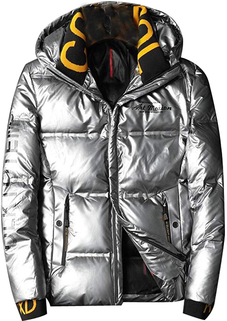 HZCX FASHION Mens Waterproof Zip Up Hooded Metallic Down Jackets with Rib Collar
