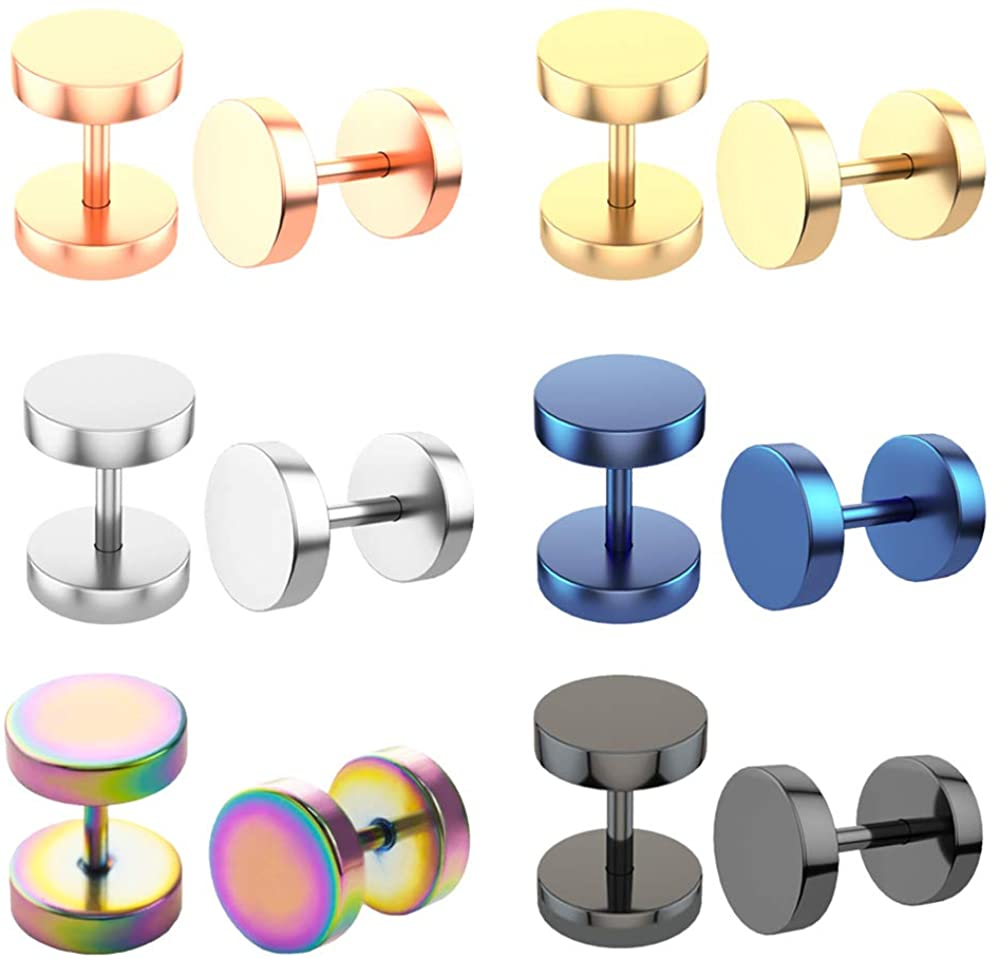 TOP BRIGHT Faux Gauges Earrings Fake Gauges Cheater Illusion Unisex Fake Plugs 6 Pairs Assorted Colors Dumbbell Stud Earrings 16G