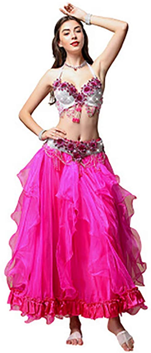 New Women Sexy Belly Dance Costume Set Suit Carnival Flowers for Oriental Dance Bra Belt Skirt Beaded 3pcs Bollywood Clothes