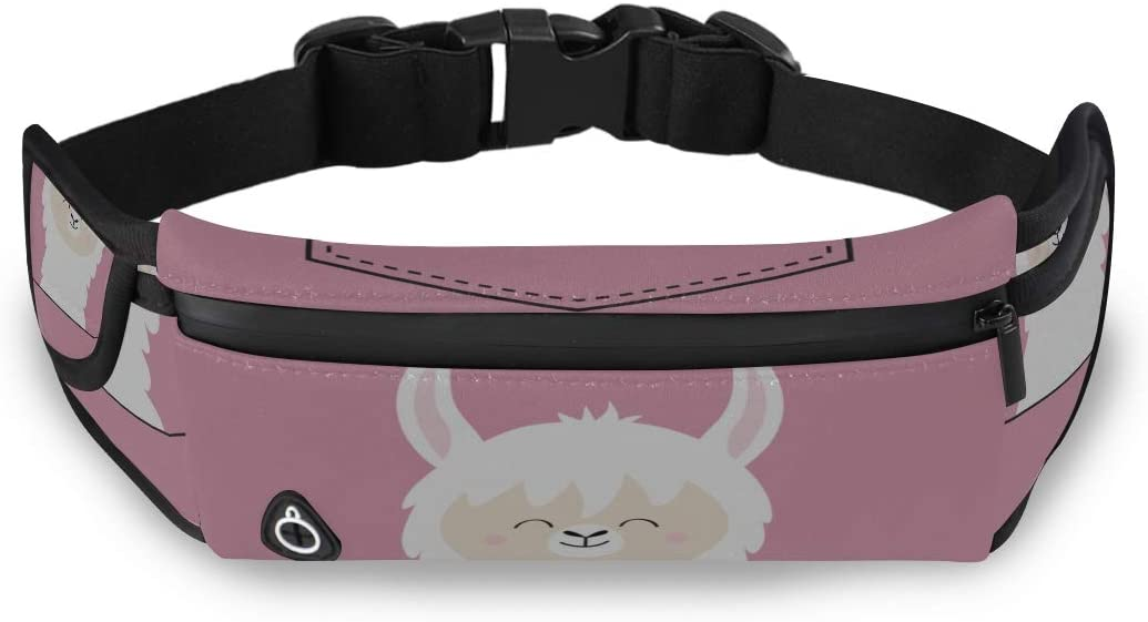 Cartoon Humorous Alpaca Llama Camping Waist Pack Fashion Bag For Kids Fanny Waist Pack With Adjustable Strap For Workout Traveling Running