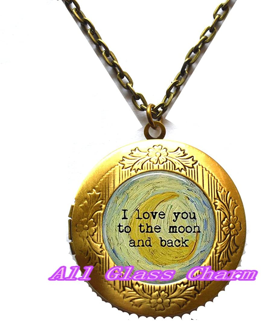 AllGlassCharm I Love You to The Moon and Back - Crescent Moon by Vincent Van Gogh - Impressionism - Moon Jewelry - Classic Art Jewelry - Van Gogh Locket Necklace,AS0287