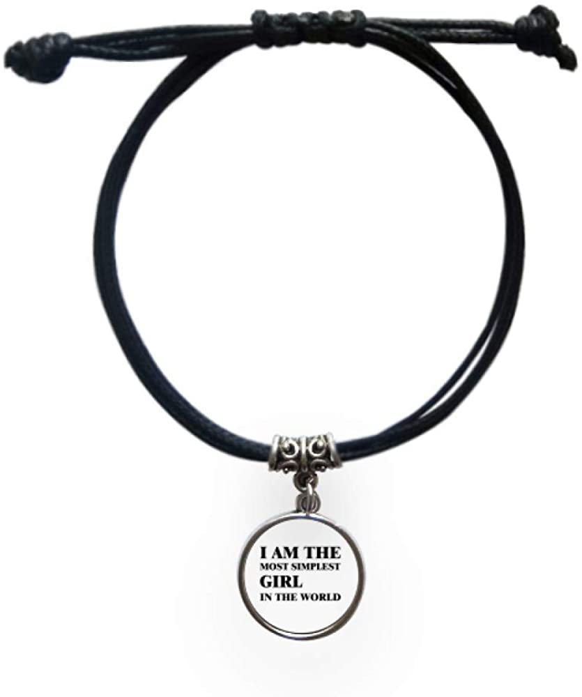 cold master DIY lab I Am The Simplest Girl Bracelet Leather Rope Wristband Black Jewelry