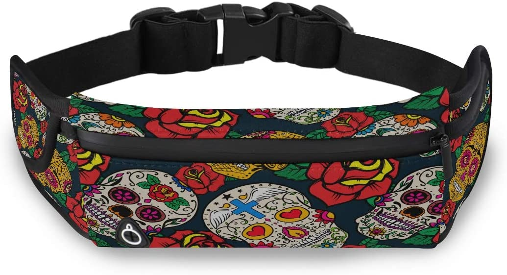 Ethnic Retro Sugar Skulls And Roses Men Fashion Shoulder Bag Waist Fanny Bag Women Waist Pack With Adjustable Strap For Workout Traveling Running