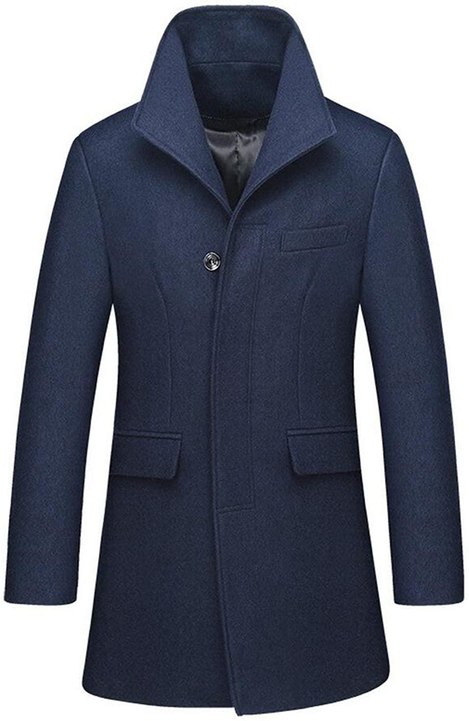 JEWOSOR Mens Fashion Wool Slim Fit Long Business Coat Winter Wool Jacket Overcoat Trench Peacoat