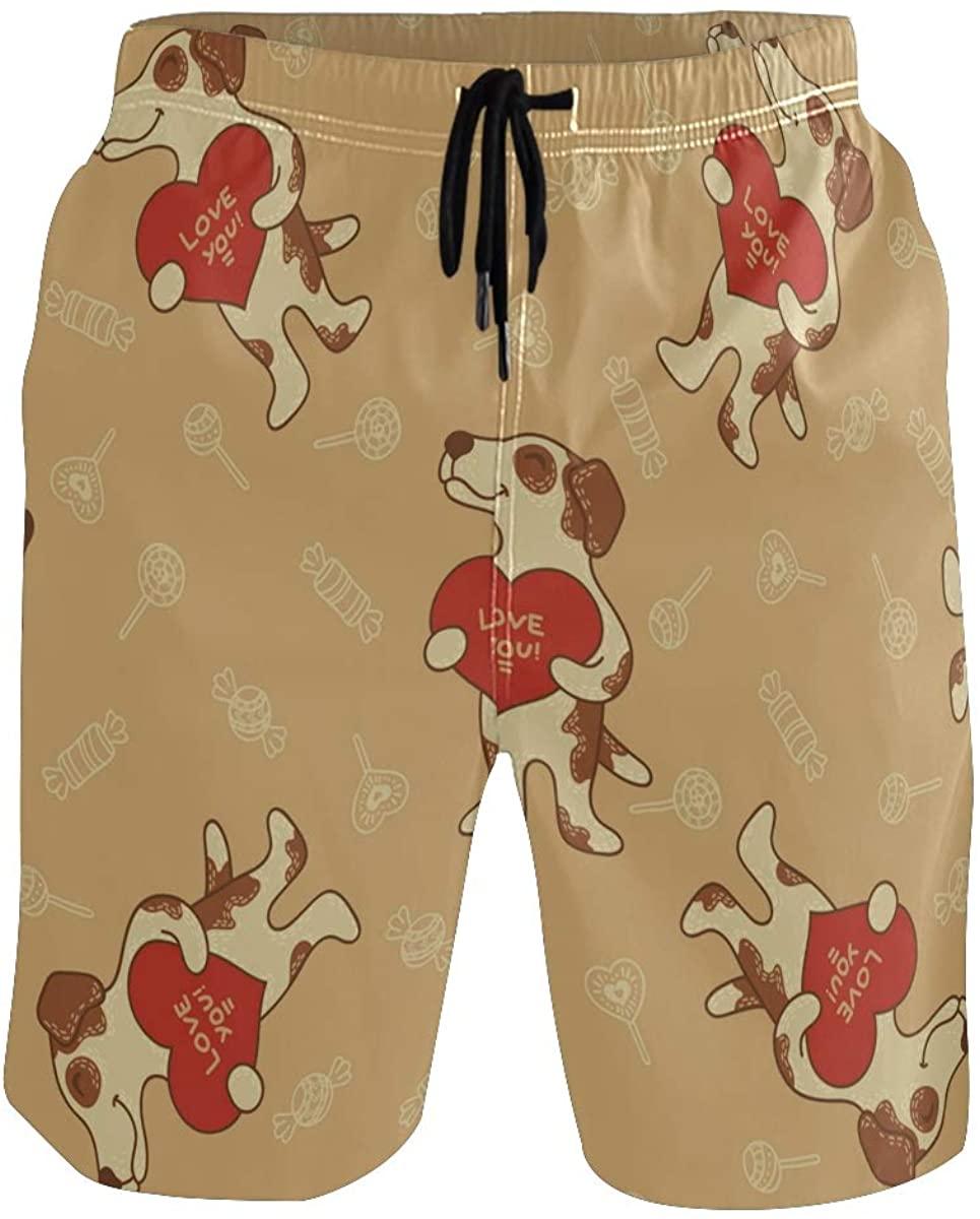 Mens Swim Trunks Cute Animal Dog Board Shorts with Pocket Beach Shorts