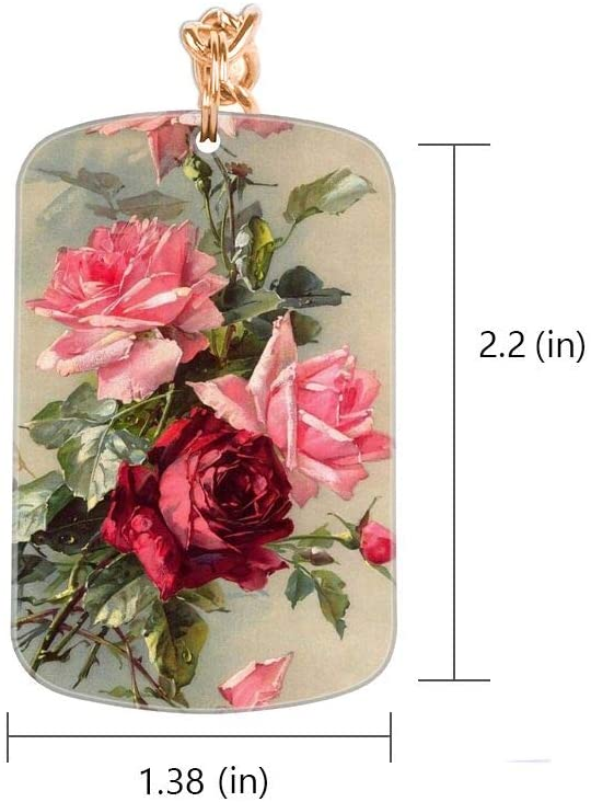 OOK Keychain Peony Square Key Ring Acrylic Snap-in Personalized Thick Durable Silver Metal Pendants for Women Girls Adults