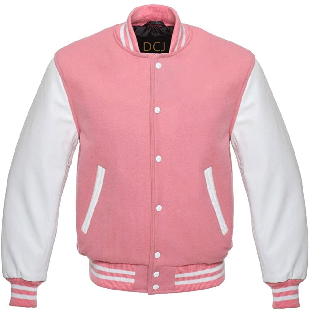 Design Custom Jackets Letterman Baseball Varsity Jacket White Leather Sleeves/Light Pink
