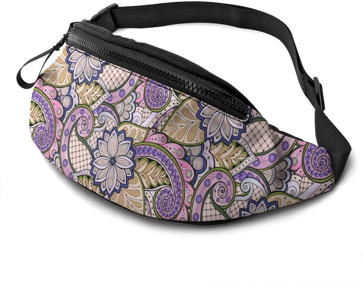 Doodle Flowers And Paisley Fanny Pack for Men Women Waist Pack Bag with Headphone Jack and Zipper Pockets Adjustable Straps