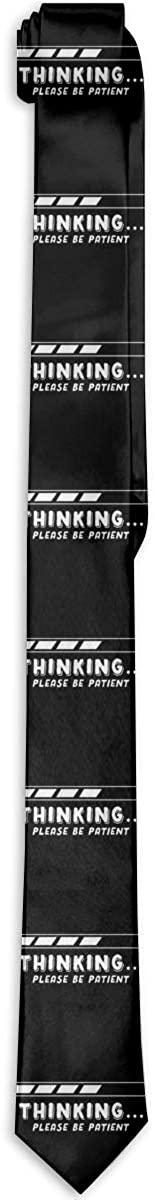 Thinking Please Be Patient Mens Classic Tie Skinny Necktie Neckwear