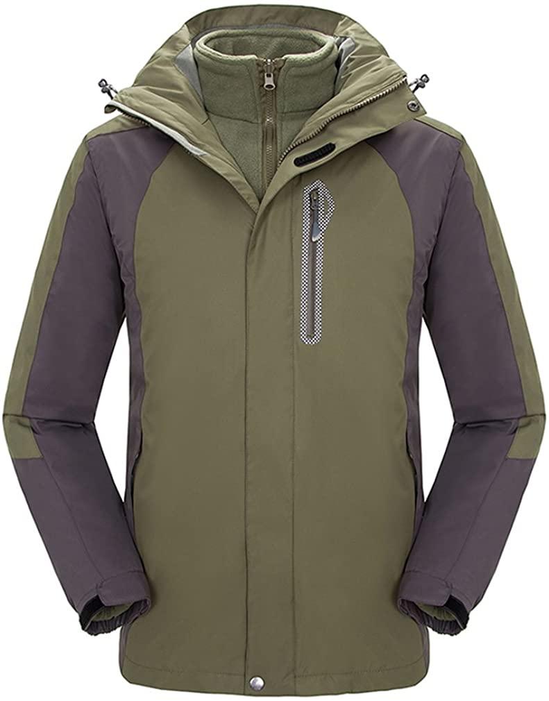 Topway Mens 3in1 Fleece Inner Waterproof Jacket Camping Coat Outwear with Hood
