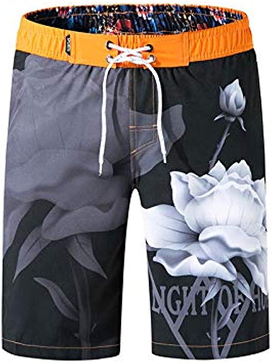 Men's Swim Trunks,Men Swimwear Swimsuits Flower Print Surf Board Boxer Shorts Trunks Long