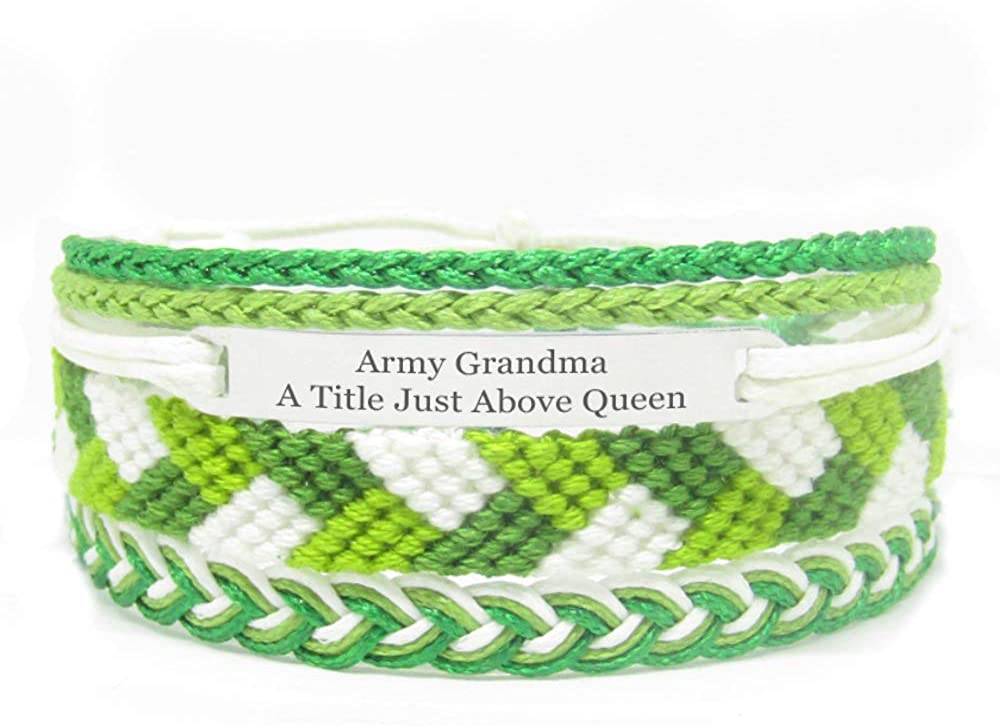 Miiras Family Engraved Handmade Bracelet - Army Grandma A Title Just Above Queen - Green - Made of Embroidery Thread and Stainless Steel - Gift for Army Grandma