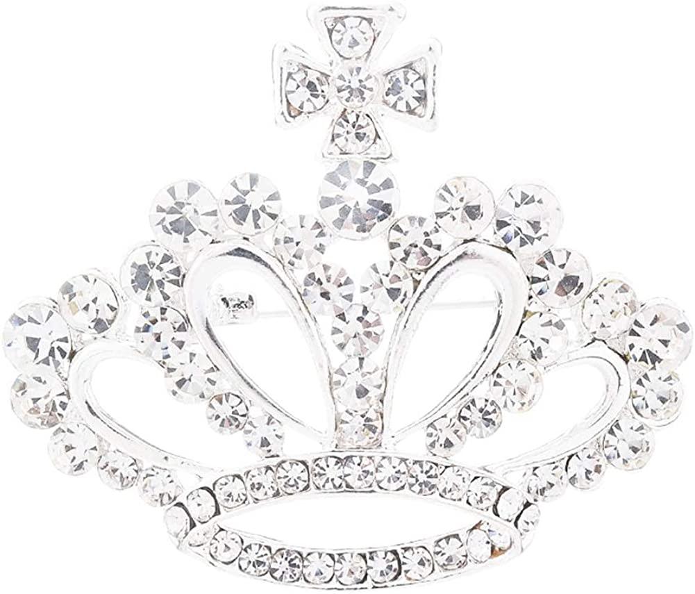 Ailiessy Crystal Royal Crown Brooch Pins Hollow Rhinestone King Crown Cross Brooch for Women Girls Fashion Dress Collar Needle Jewelry