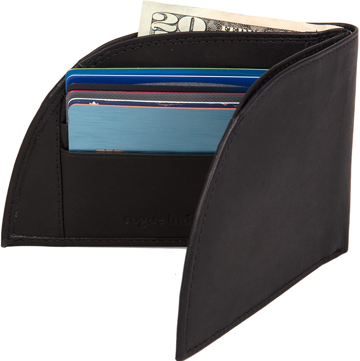 Front Pocket Wallet by Rogue Industries - Genuine American Leather with RFID Block, Holds 6 Cards - Black