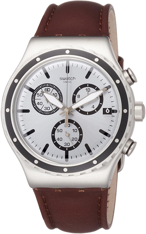 Swatch Men's Chronograph Quartz Watch with Leather Strap YVS437