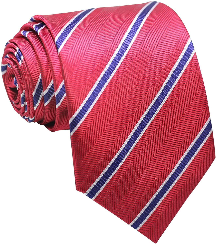 Secdtie Men's Classic Red Blue Striped Jacquard Woven Silk Tie Formal Necktie