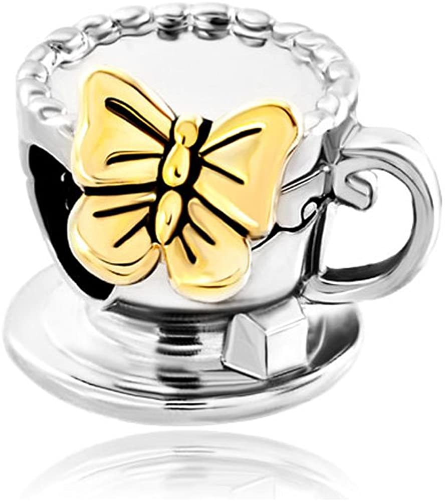 Lifequeen Coffee Cup Charms Butterfly Flower Latte Art Charm Beads for Bracelets