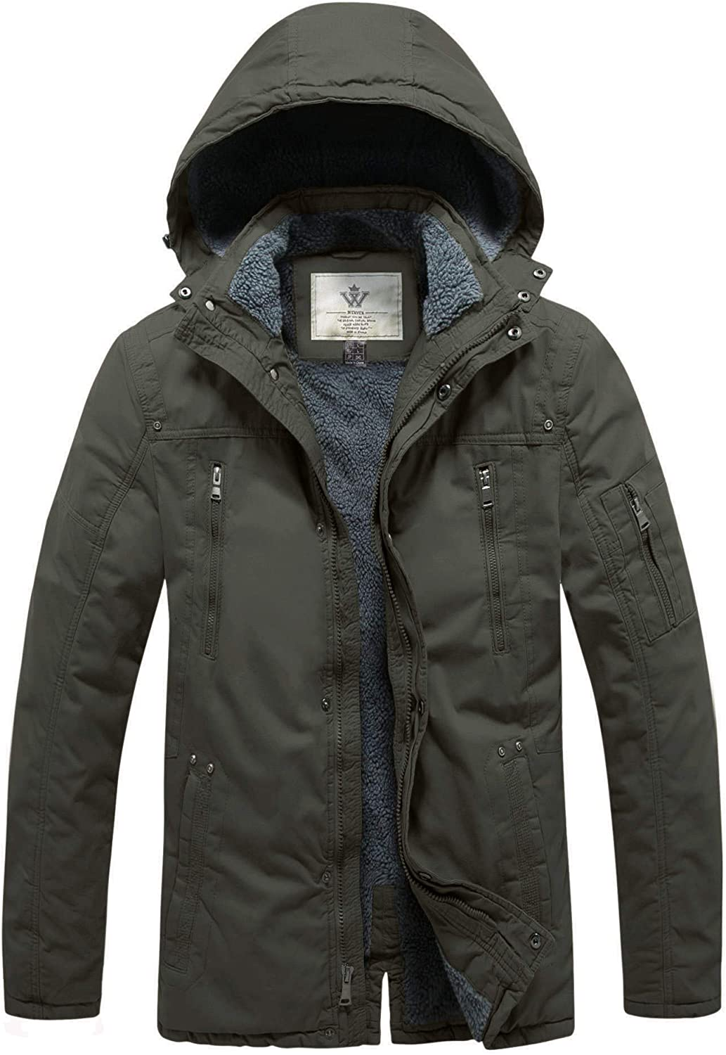 WenVen Men's Winter Insulated Sherpa Lined Parka Jacket with Detachable Hood