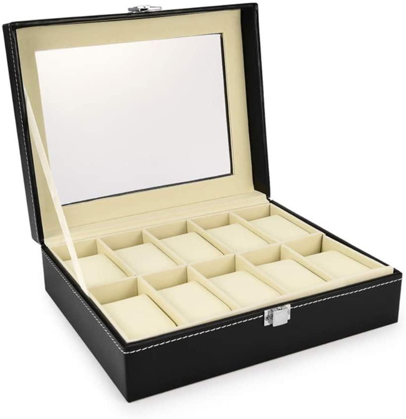 THEHOME Watch Box,Wristwatch Display Case, Leather Watch Organizer Storage Box Watch Holder for Men