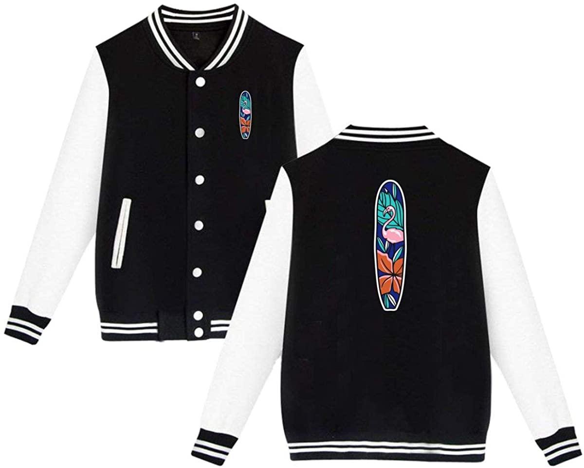 Unisex Varsity Jacket Flamingo Surfboard Baseball Letterman Jackets Sport Coats