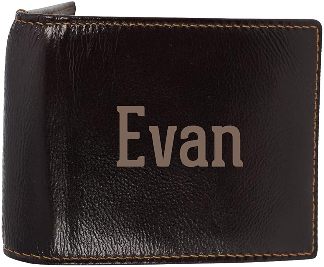Evan - Genuine Engraved First Name Soft Cowhide Bifold Leather Wallet