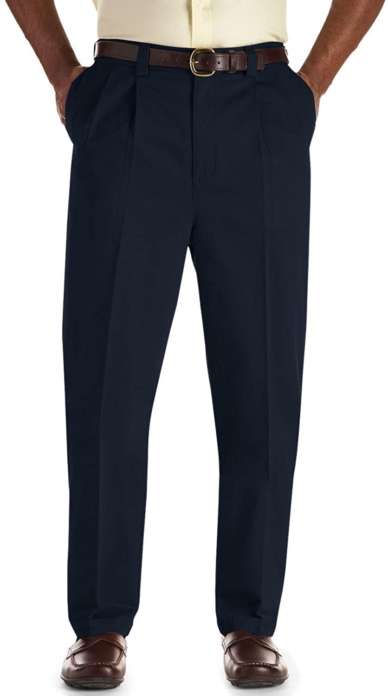 Oak Hill by DXL Big and Tall Pleated Premium Stretch Twill Pants, Navy, 48R 28