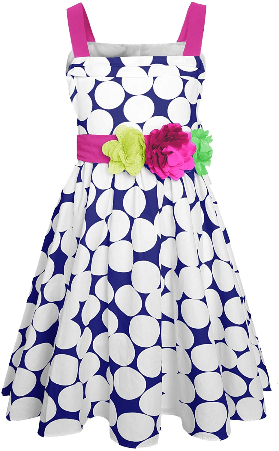 SPEINY Girls Sleeveless Pleated Summer Flared Dress Casual Kids Clothes