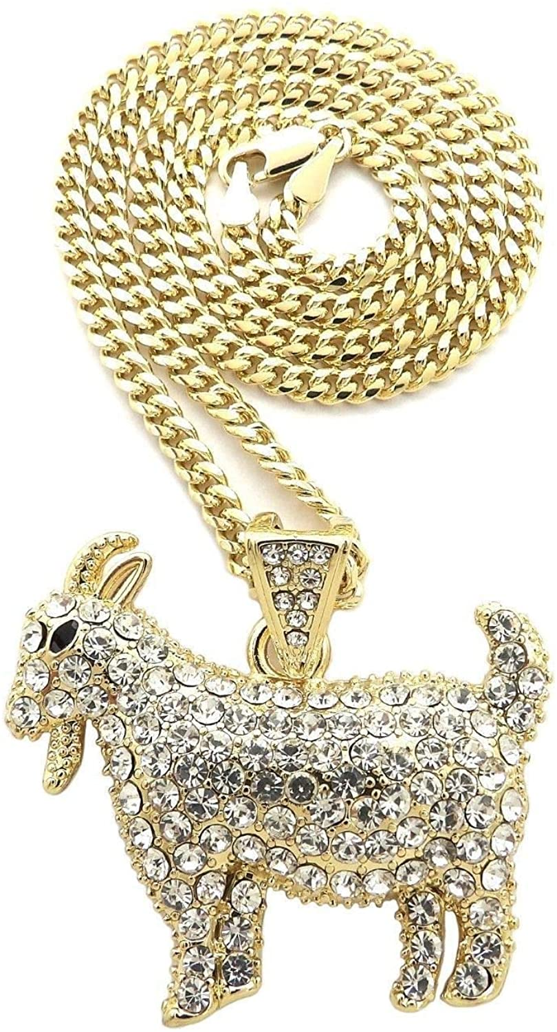Shiny Jewelers USA Mens ICED Out Hip HOP Goat Pendant Box, Rope, Cuban Chain Necklace