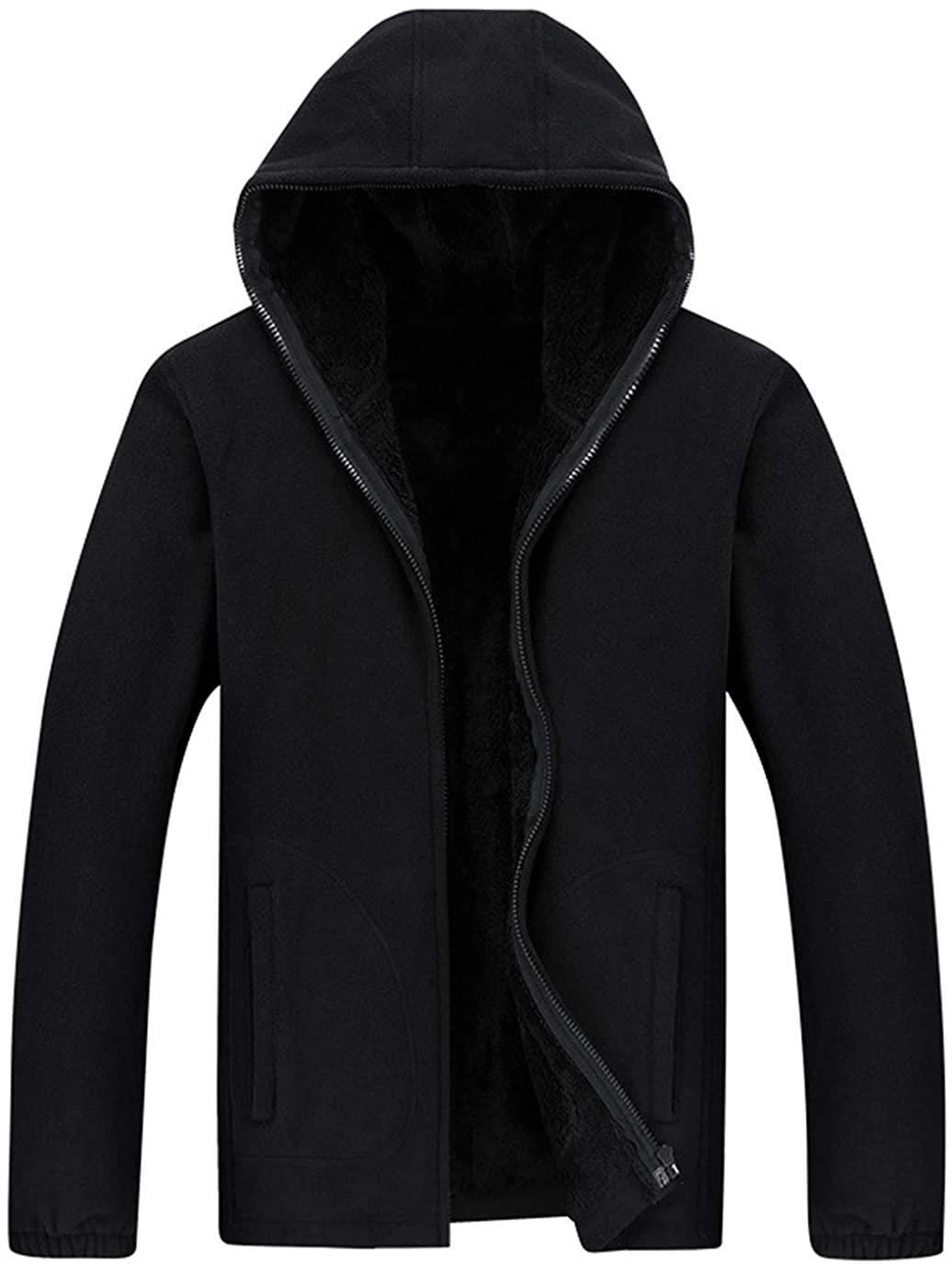 ebossy Men's Winter Full-Zip Polar Fleece Jacket Hoodie Sweatshirt
