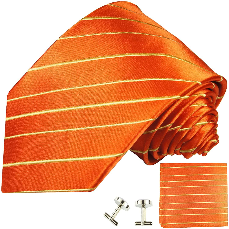 Paul Malone Necktie, Pocket Square and Cufflinks 100% Silk Orange
