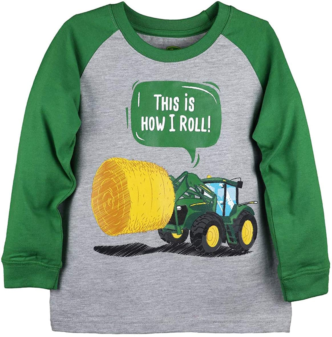 John Deere Toddler Size Gray and Green Long Sleeve This is How I Roll Tractor Bale T-Shirt