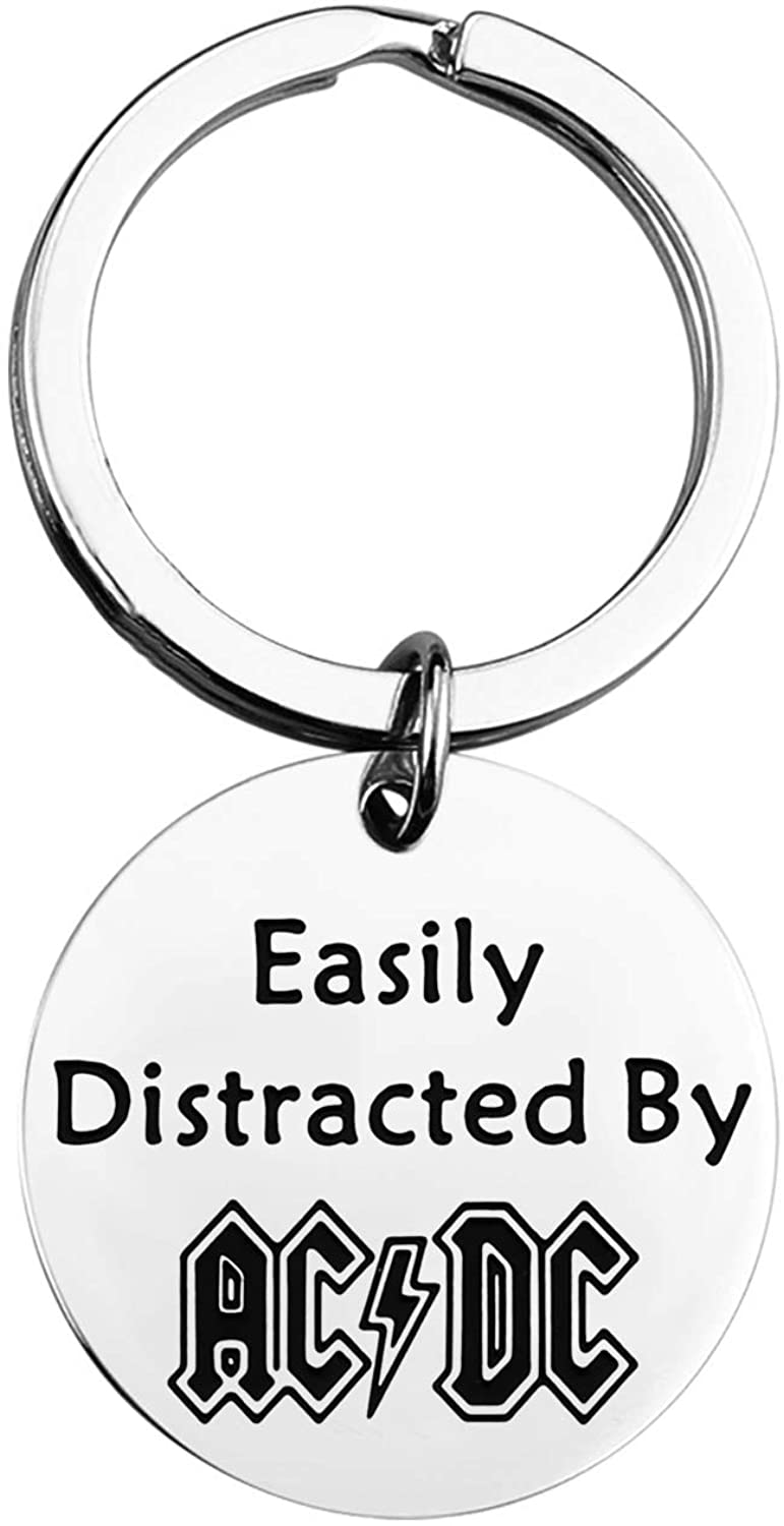 FAADBUK AC/DC Keychain ACDC Fans Gift ACDC Inspired Gift Easily Distracted by The ACDC Rock Band Gift Music Group Gift