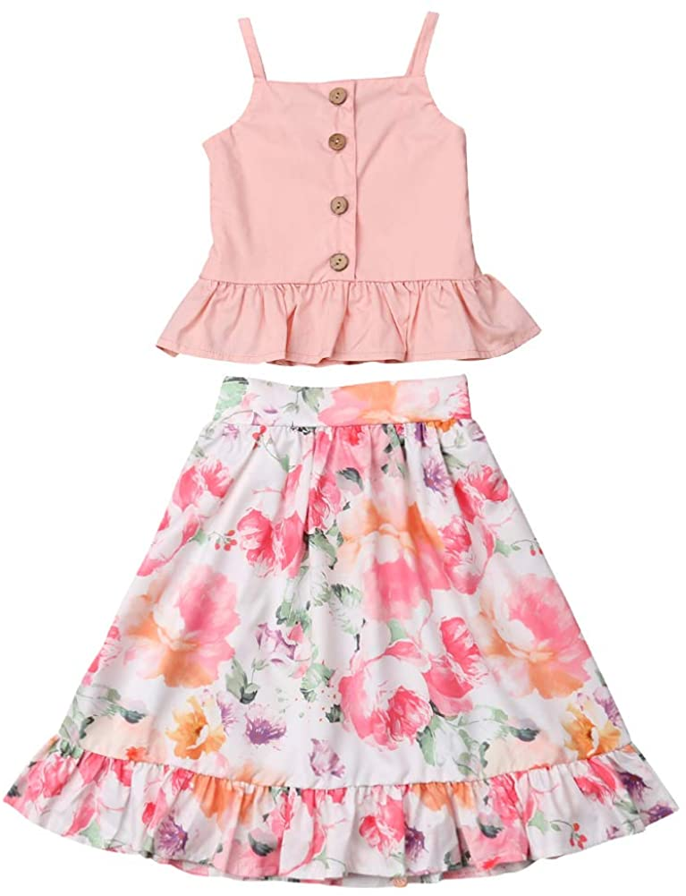 2Pcs Toddler Kids Girl Summer Outfit Button Down Sleeveless Crop Top Boho Flroal Ruffle Skirt