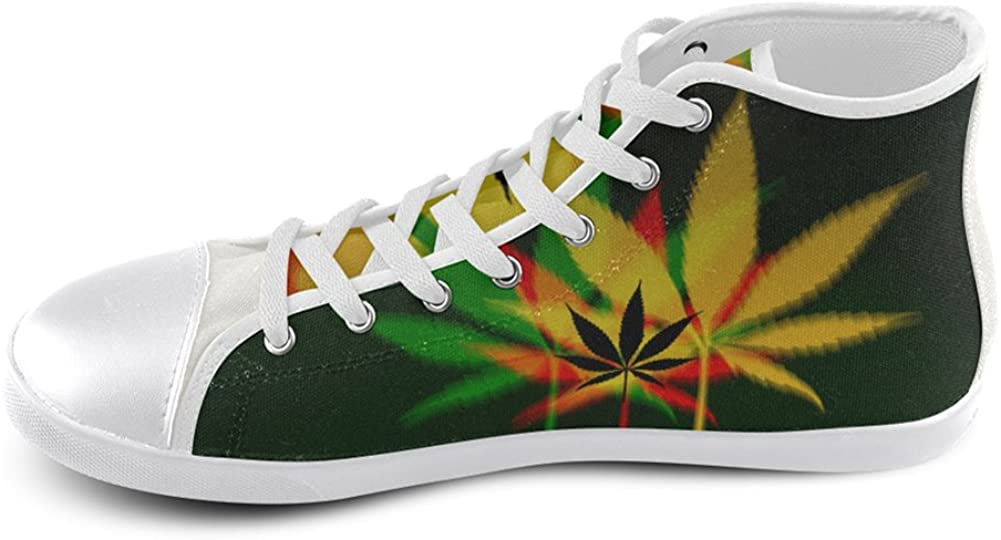 MHIHT Weed Boys Girls High Top Classic Casual Canvas Fashion Shoes Trainers Sneakers,White