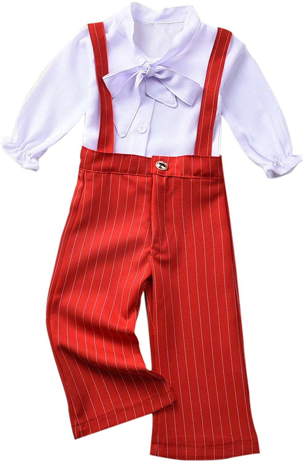 Fioukiay Toddler-Girl-Uniform-Overall-Outfits Chiffon Blouse Shirts Tops+Striped Suspenders Pants Office Style Clothes Set
