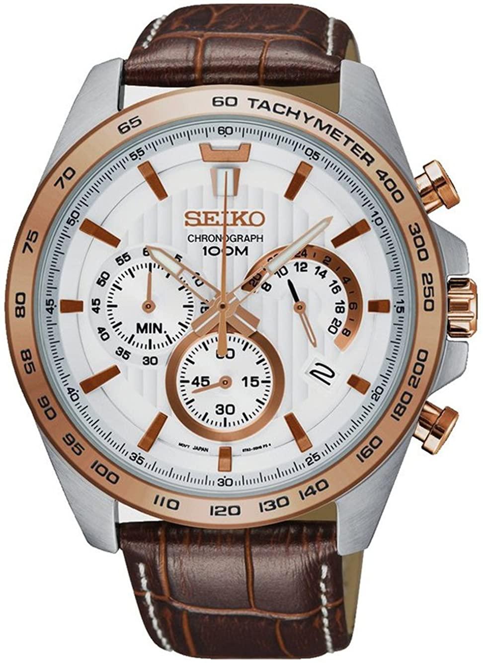 Seiko neo Sports Mens Analog Quartz Watch with Leather Bracelet SSB306P1