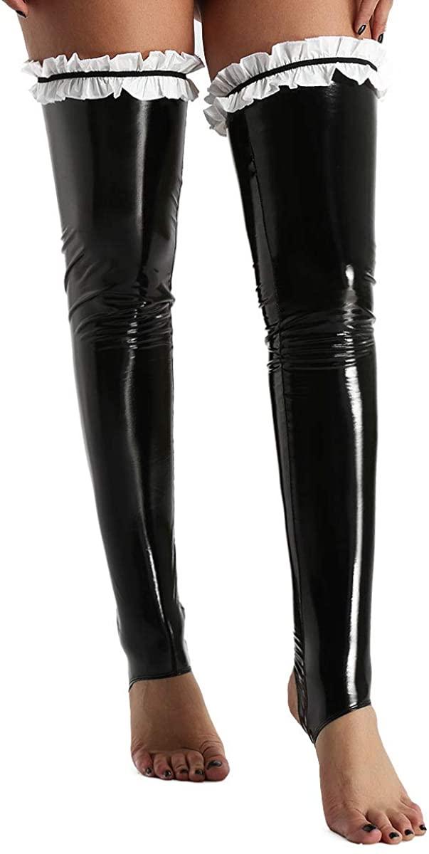 TiaoBug Men's PVC Leather Thigh High Stirrup Stockings Tights Clubwear