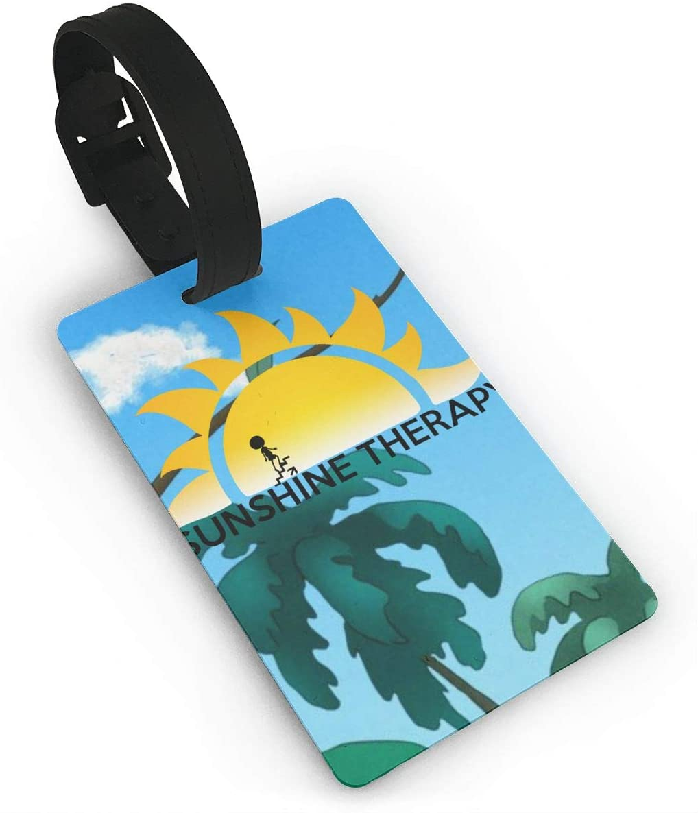 Bring On The Sunshine logo PVC Luggage Tag With Name ID Card Perfect lightweight and easy to carry for Travel Baggage to Quickly Spot Luggage Suitcase