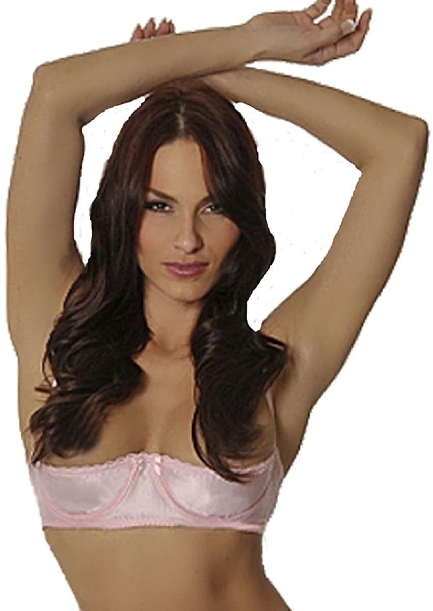 Empire Intimates Satin Shelf Bra w Open Quarter Cups Show Nipples - Pink - Size 34