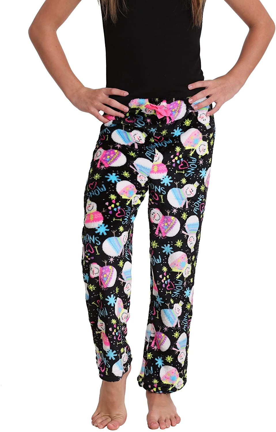Girl's Snowman Print Plush Lounge Pants